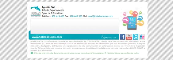 Firma de correo HTML + CSS Dunas Hotels & Resorts