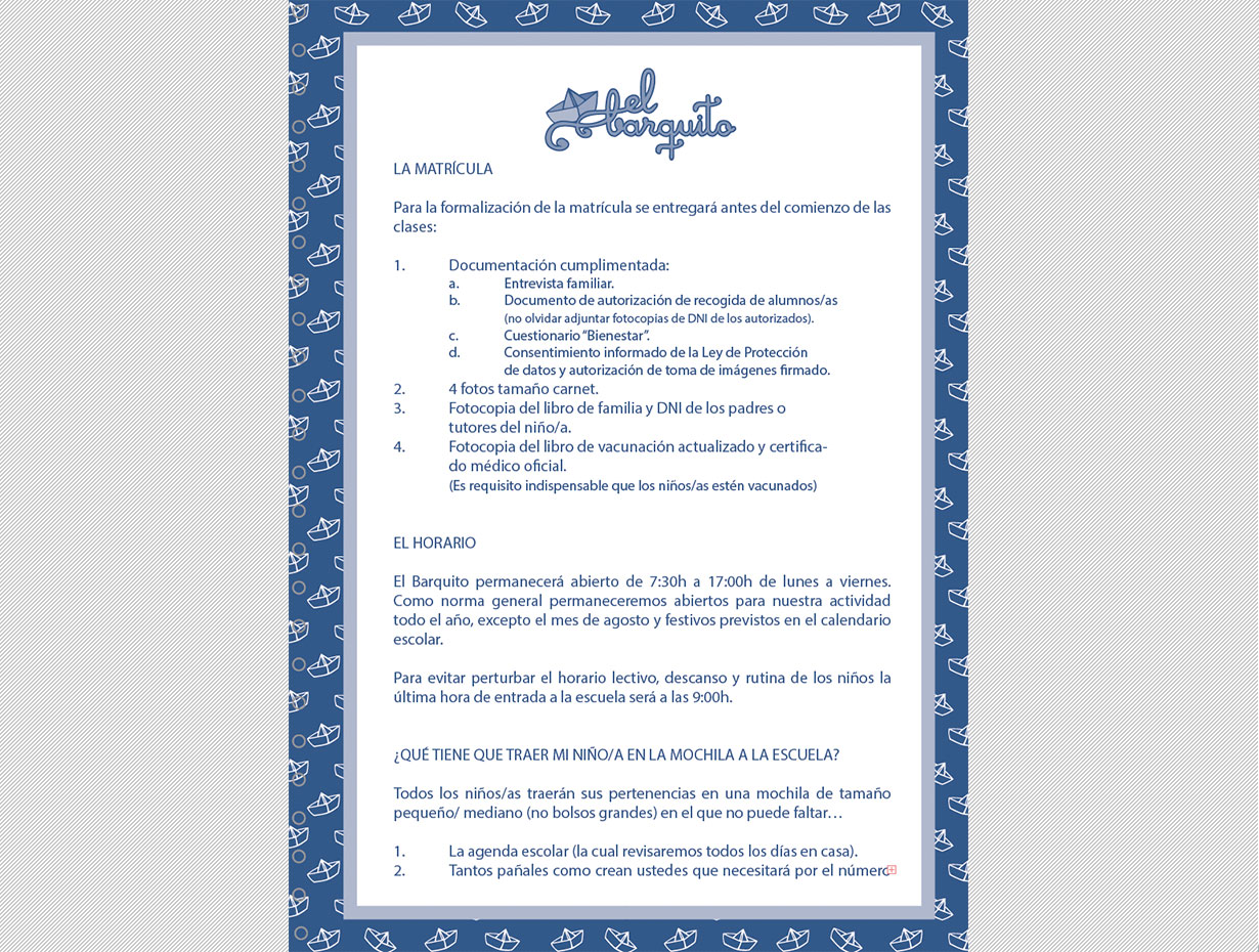 Diseño Editorial Agenda de Guardería El Barquito